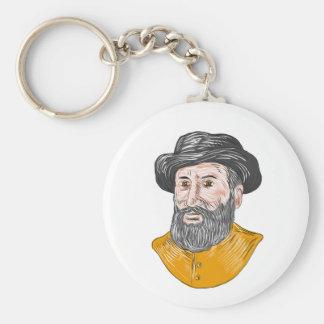 Ferdinand Magellan Bust Drawing Key Ring