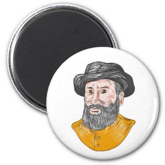 Ferdinand Magellan Bust Drawing Magnet