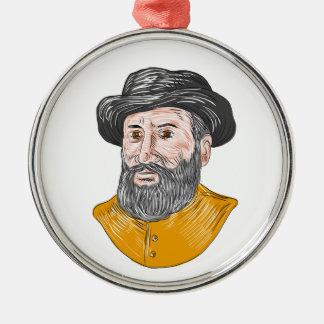 Ferdinand Magellan Bust Drawing Metal Ornament