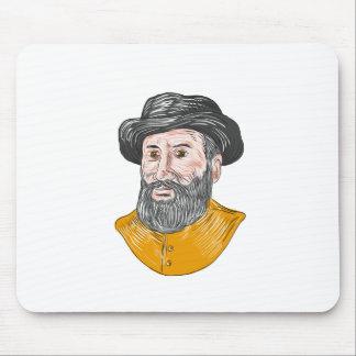 Ferdinand Magellan Bust Drawing Mouse Pad