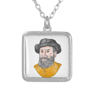 Ferdinand Magellan Bust Drawing Silver Plated Necklace