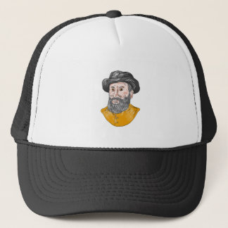 Ferdinand Magellan Bust Drawing Trucker Hat