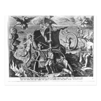 Ferdinand Magellan  on board his caravel, 1522 Postcard