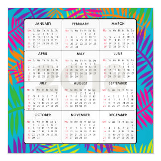 Fern Art  2018 Calendar Square Magnetic Card