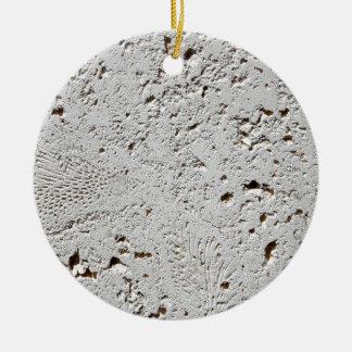 Fern Fossil Tile Surface Closeup Ceramic Ornament