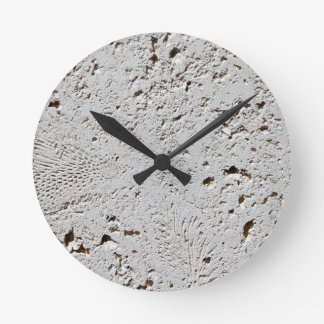 Fern Fossil Tile Surface Closeup Round Clock