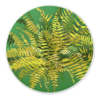 Fern, fronds, floral, green golden yellow greenery ceramic knob
