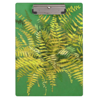 Fern, fronds, floral, green golden yellow greenery clipboard