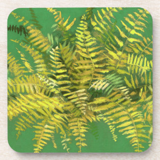 Fern, fronds, floral, green golden yellow greenery coaster