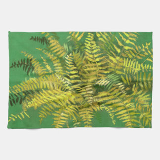 Fern, fronds, floral, green golden yellow greenery hand towels