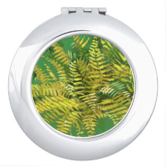 Fern, fronds, floral, green golden yellow greenery makeup mirrors