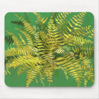 Fern, fronds, floral, green golden yellow greenery mouse pad