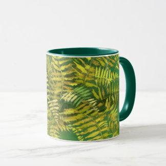 Fern, fronds, floral, green golden yellow greenery mug