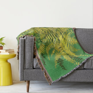 Fern, fronds, floral, green golden yellow greenery throw blanket