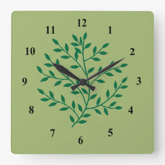 Fern green leaves foliage plant square wall clock