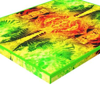 Fern Leaf 2G Light Fractal A Red / Green / Yellow Canvas Print