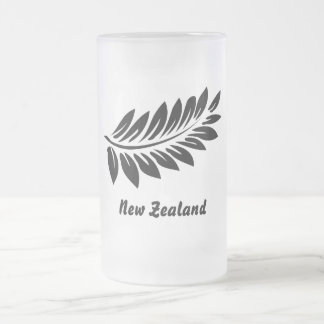 Fern leaf frosted glass beer mug