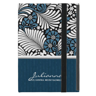 Fern Leaf in Blue, White and Black Cover For iPad Mini