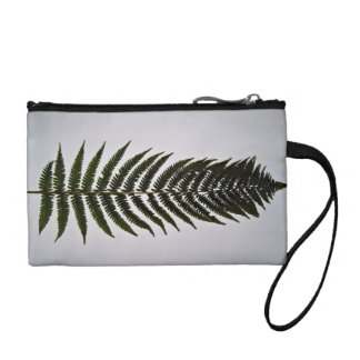 Fern leaf isolated on white background coin purse