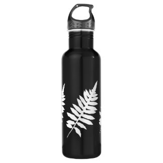 Fern Leaf Silhouette Black and White 710 Ml Water Bottle