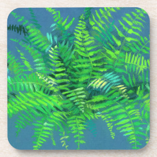 Fern leaves, floral design, greenery, blue & green coaster