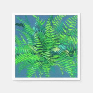 Fern leaves, floral design, greenery, blue & green disposable serviettes
