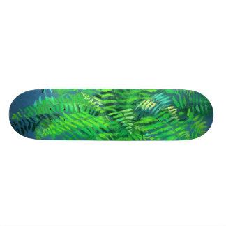 Fern leaves, floral design, greenery, blue & green skateboard