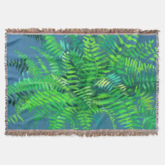 Fern leaves, floral design, greenery, blue & green throw blanket
