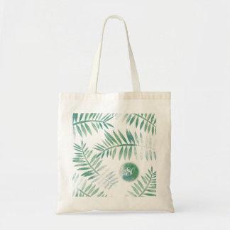 Fern Leaves Green & Blue Grunge Monogram Tote Bag