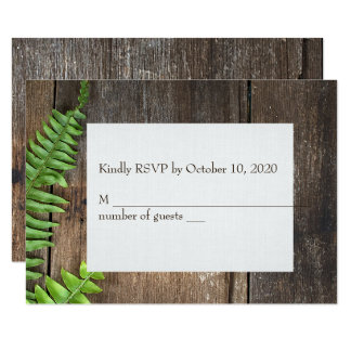 fern on wood RSVP Card