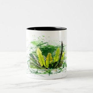 Fern, sheets, jungle, plants, nature Two-Tone coffee mug