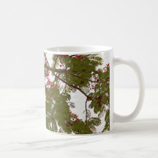 Fern Tree Red Flowers and Brown Branches Canv Basic White Mug