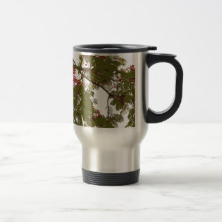 Fern Tree Red Flowers and Brown Branches Canvas Stainless Steel Travel Mug