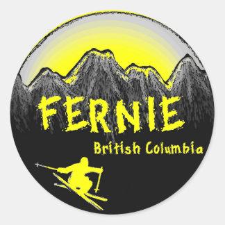 Fernie British Columbia Canada ski Classic Round Sticker