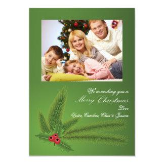 Ferns and Holly Photo Holiday Card 13 Cm X 18 Cm Invitation Card