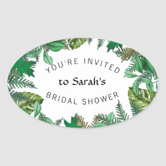 Ferns n Leaves Greenery Bridal Shower Sticker