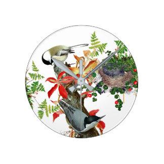 Ferns Nuthatch Birds Nest Wildlife Wall Clock