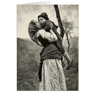 Ferraguti Love Mother Son Child Kiss Vintage Art Card