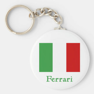 Ferrari Italian Flag Basic Round Button Key Ring
