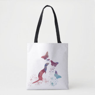 Ferret and butterflies tote bag