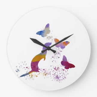 Ferret and buttterflies large clock