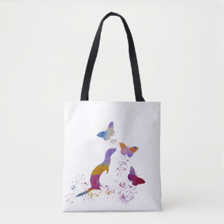 Ferret and buttterflies tote bag