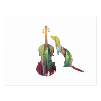 Ferret and saxophone postcard