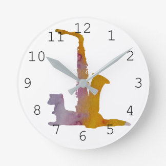 Ferret and saxophone round clock