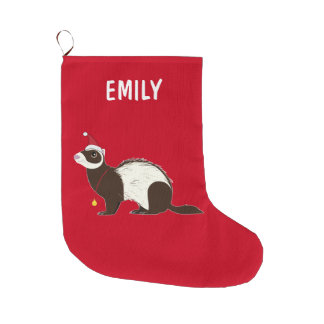 Ferret Christmas Name Customizable Large Christmas Stocking