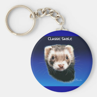Ferret Classic Sable Basic Round Button Key Ring