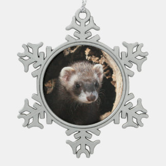 Ferret Face Pewter Snowflake Decoration