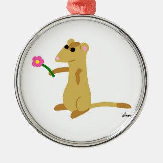 Ferret Holding a Flower Ornament