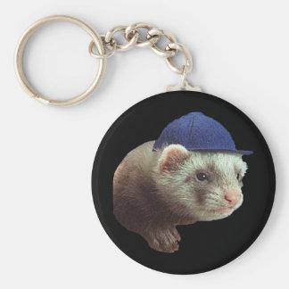 Ferret Wearing Hat Basic Round Button Key Ring