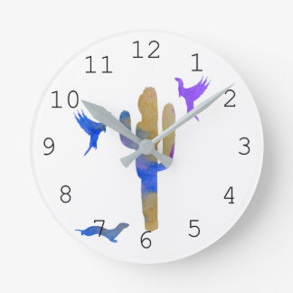 ferrets and cactus round clock